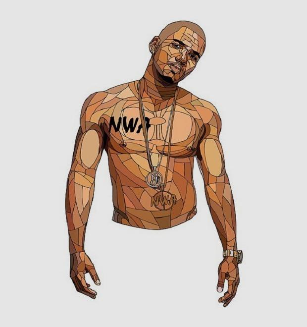 Shaz Art: Звёзды хип-хопа в «витражных» портретах французского художника