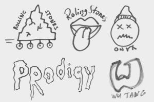 Дизайнеры Look At Media рисуют логотипы известных групп по памяти