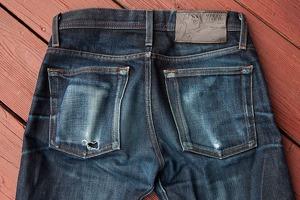 Карта потертостей джинсов из сухого нестиранного денима