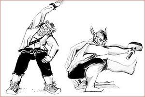 Сила воли: Саб-Зиро, Тор, Хэллбой и Роршах учат правильной зарядке