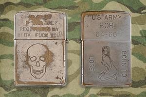 Фотографии коллекции зажигалок Zippo времен войны во Вьетнаме