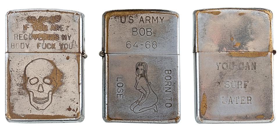 Фотографии коллекции зажигалок Zippo времен войны во Вьетнаме. Изображение №1.