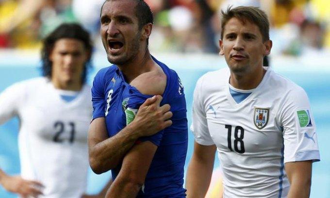Суареса дисквалифицировали за укус Джорджо Кьеллини на 9 матчей. Изображение № 2.
