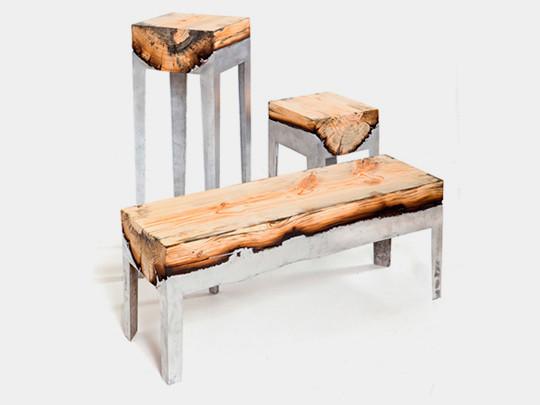 Дизайнер Хилла Шамиа сделала мебель из древесных стволов и расплавленного алюминия. Изображение № 1.