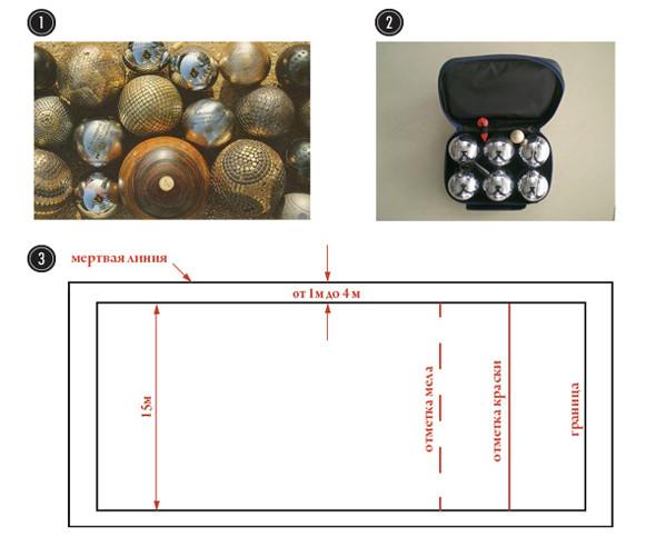 1.  Разные виды шаров для петанка 2. Набор для петанка 3. Разметка поля петанка. Изображение № 4.