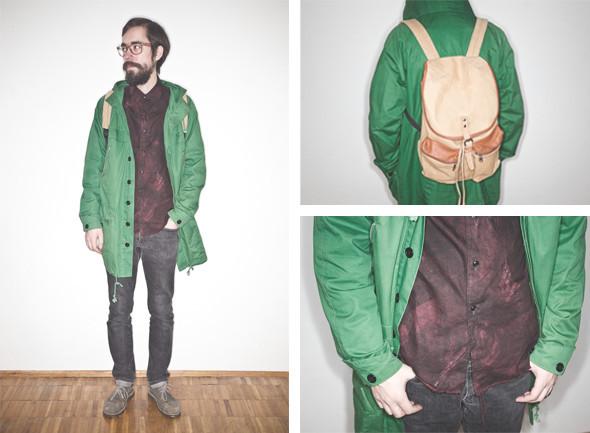 Рубашка Attachment, куртка Henrick Vibskov, джинсы Оpening Ceremony, ботинки Clarks, рюкзак Sandquist. Изображение № 19.