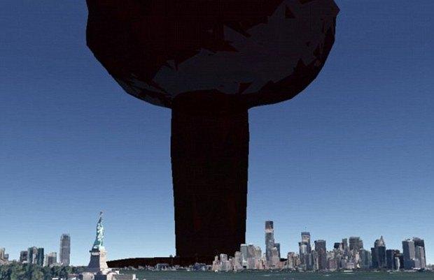 Американец создал симулятор взрыва атомной бомбы на картах Google Earth. Изображение № 2.