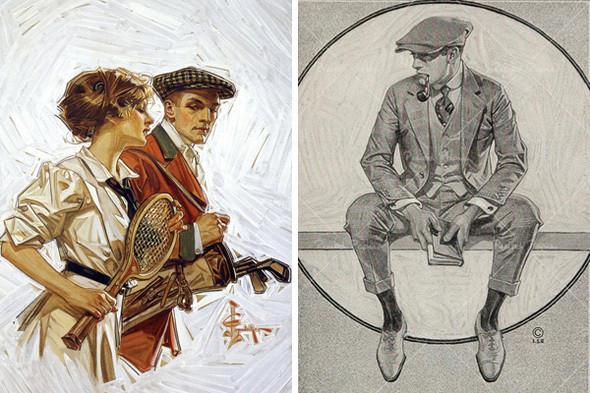 Запонки сочетаются как с круглым воротником, так и с воротником-стойкой. Иллюстрации Джозефа Лейнденера. Изображение № 10.