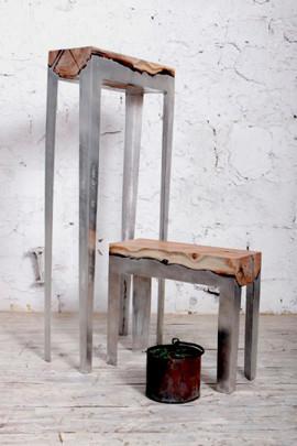 Дизайнер Хилла Шамиа сделала мебель из древесных стволов и расплавленного алюминия. Изображение № 4.