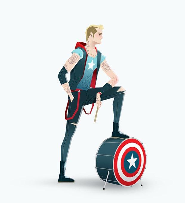 Super Rockers: Супергерои в образах рокеров. Изображение № 7.