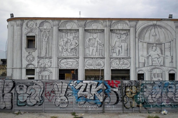 Уличный художник Blu превратил стену заброшенного кинотеатра в античный фасад. Изображение № 5.