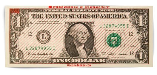 На третьем варианте плотно заштрихован 1 процент площади бумажки и легко заштрихованы остальные 99 процентов бумаги, что символизирует нечестное распределение собственности и доходов среди населения США. Изображение № 33.