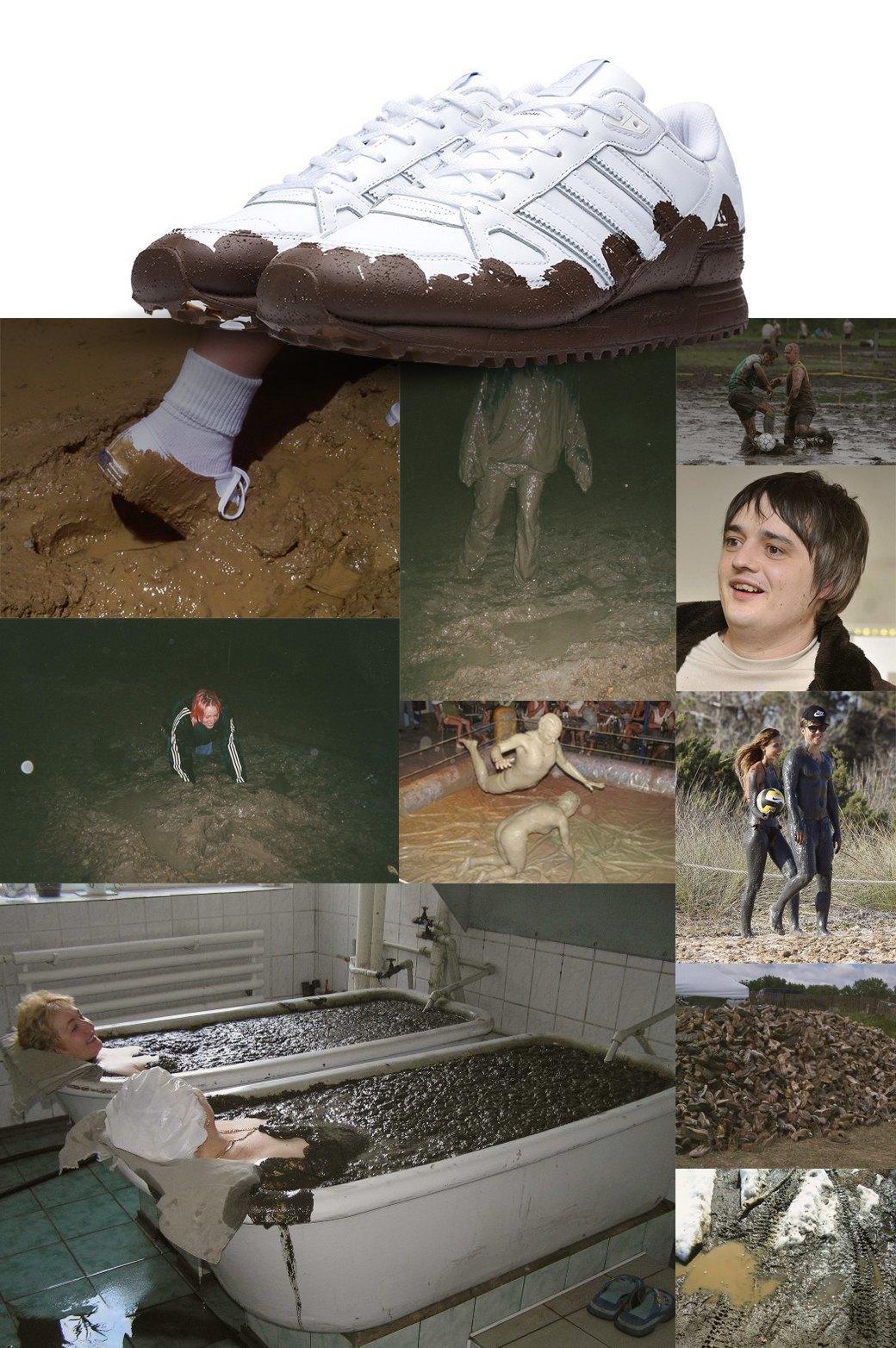 Чем вдохновлялись дизайнеры кроссовок Adidas с эффектом грязной подошвы. Изображение № 1.