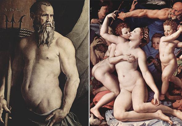 Анджело Бронзино «Портрет Андреа Дориа в виде Нептуна», 1540–1550 / Аньоло Бронзино «Аллегория с Венерой и Амуром», 1546. Изображение № 10.