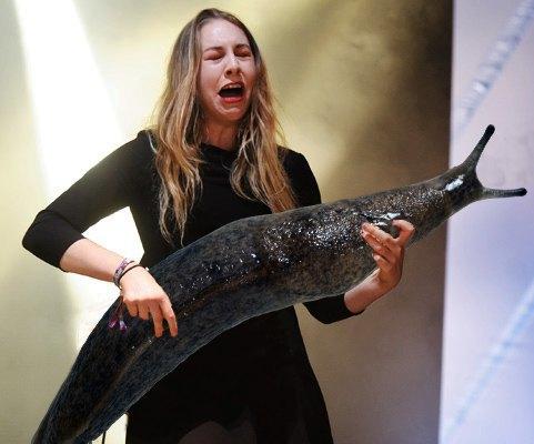 Выложены фото рок-музыкантов с огромным слизнем вместо гитары. Изображение № 1.