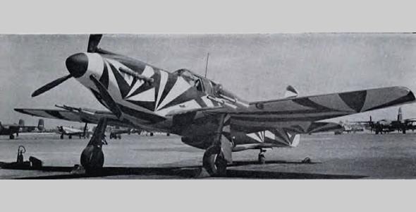 Одноместный американский истребитель P-51 Mustang, разукрашенный в маскировку Dazzle. Использовался в период Второй мировой войны. Изображение № 13.