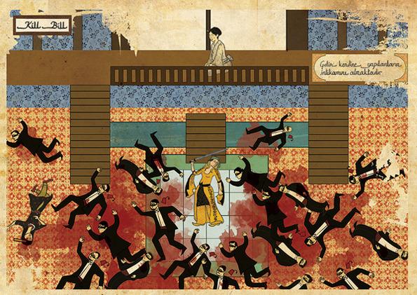 Турецкий художник изобразил кадры из известных фильмов в стиле миниатюр времен Османской империи. Изображение № 25.