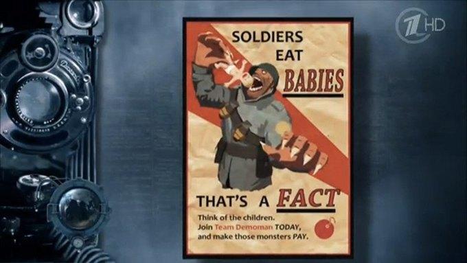 Первый канал использовал в сюжете плакат из игры Team Fortress 2. Изображение № 1.