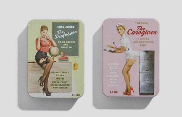 Коробки конфет с портретами девушек в стиле пин-ап. Изображение № 3.