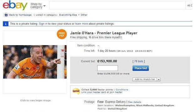 Английского футболиста выставили на eBay. Изображение № 1.