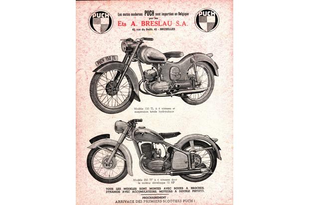 Реклама австрийских мотоциклов Puch 150TL, середина 1950-х годов. Изображение № 5.