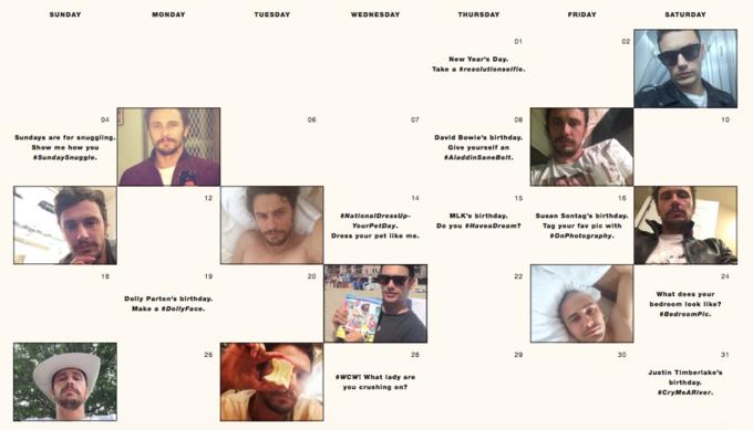 Актёр Джеймс Франко создал «календарь селфи». Изображение № 1.