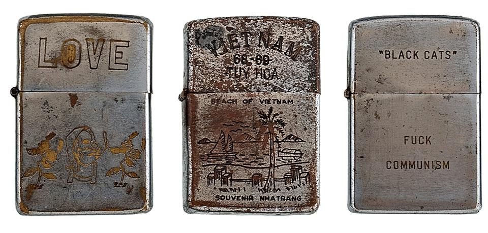Фотографии коллекции зажигалок Zippo времен войны во Вьетнаме. Изображение №4.
