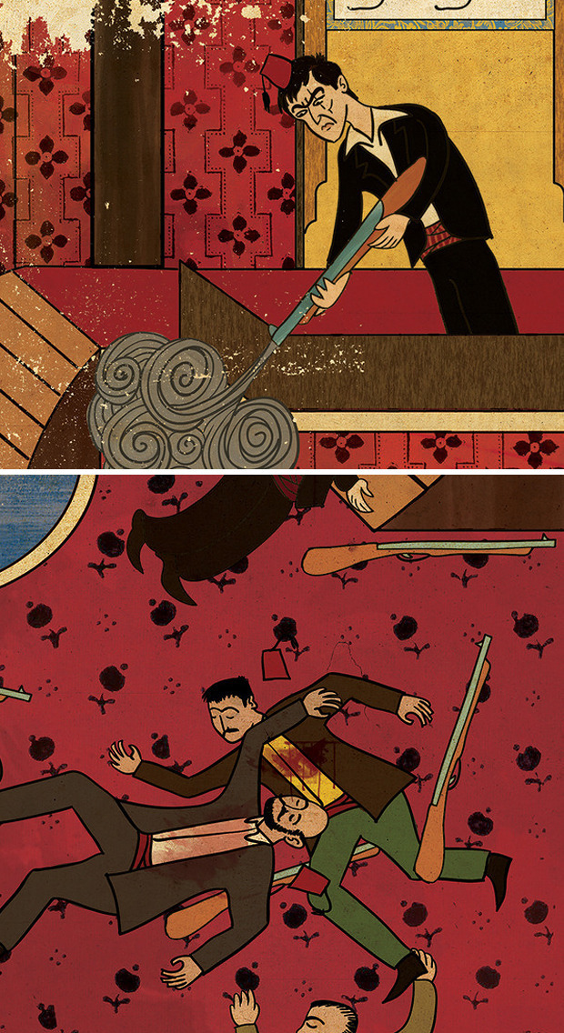 Турецкий художник изобразил кадры из известных фильмов в стиле миниатюр времен Османской империи. Изображение № 14.