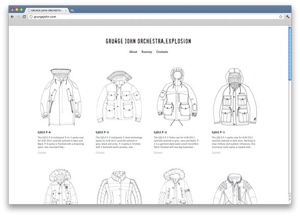 Главная страница сайта марки Grunge John Orchestra. Explosion оформлена разработанными Игорем Исаевым дизайнами одежды. Изображение № 29.
