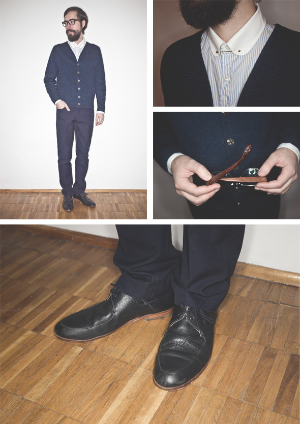Кардиган винтаж, рубашка Obedient Sons, брюки Farah Vintage, ботинки B Store. Изображение № 27.