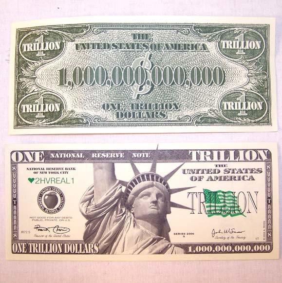 Американец пытался оплатить обед в ресторане купюрой в триллион долларов. Изображение № 1.
