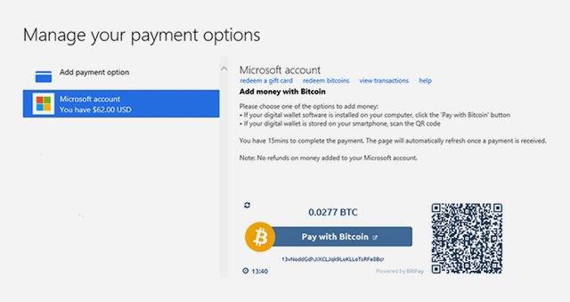 Microsoft начала принимать криптовалюту биткоин. Изображение № 1.