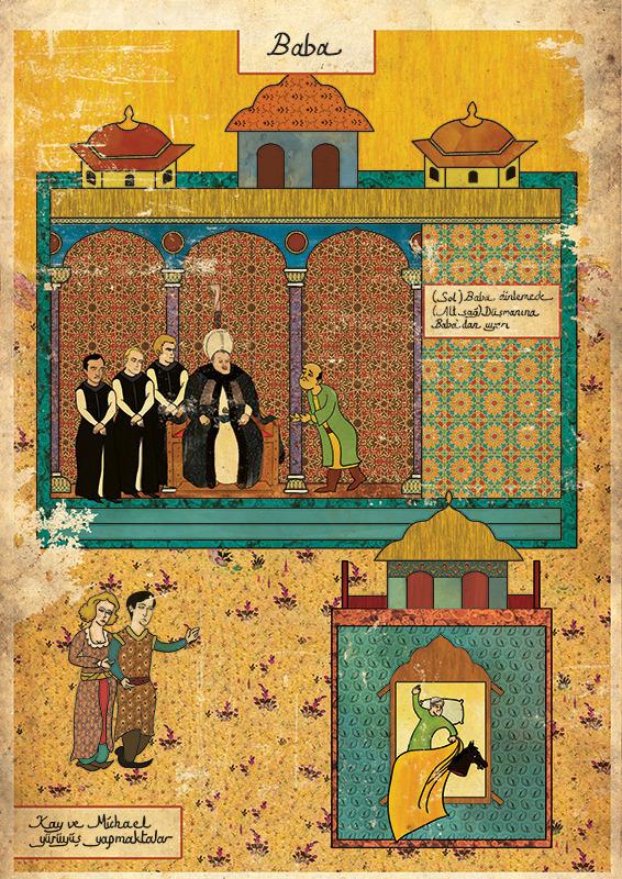 Турецкий художник изобразил кадры из известных фильмов в стиле миниатюр времен Османской империи. Изображение № 4.