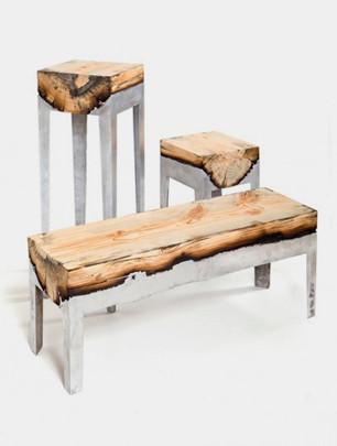 Дизайнер Хилла Шамиа сделала мебель из древесных стволов и расплавленного алюминия. Изображение № 6.