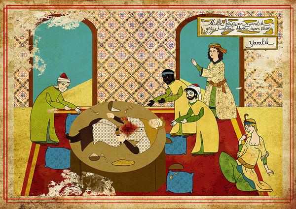 Турецкий художник изобразил кадры из известных фильмов в стиле миниатюр времен Османской империи. Изображение № 9.