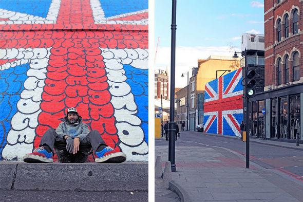 Граффити британского флага, составленное из текста песни Sex Pistols. Изображение № 3.