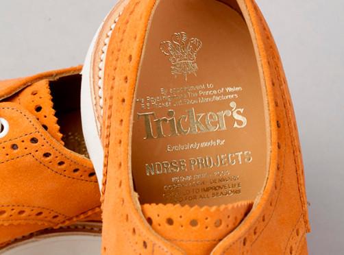 Марки Trickers и Norse Projects выпустили совместную модель замшевых брогов. Изображение № 6.