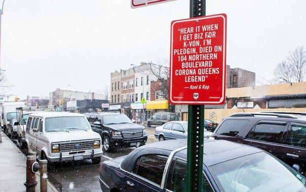 Нью-йоркский художник Джей Шеллс крепит к столбам таблички с рэп-цитатами. Изображение № 22.