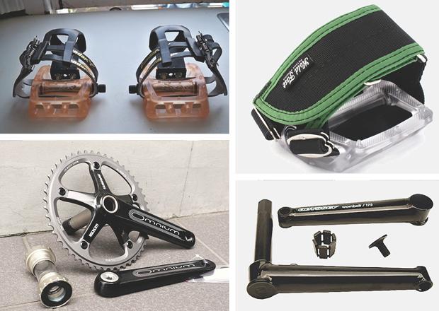 Слева направо: педали Odyssey с пластиковыми туклипсами, педаль с ремнями Hold Fast, система SRAM Omnium, шатуны Odyssey Wombolt. Изображение № 8.