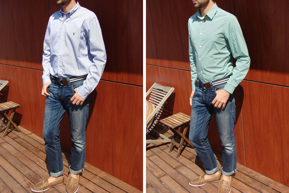 Рубашка Polo Ralph Lauren размера M и H&M размера S на мужчине ростом 180 см и весом 68 кг. Изображение № 1.