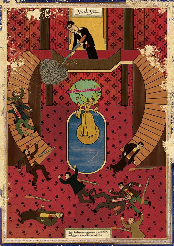 Турецкий художник изобразил кадры из известных фильмов в стиле миниатюр времен Османской империи. Изображение № 13.