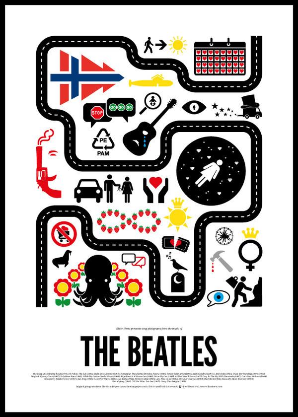 Шведский иллюстратор сделал серию плакатов с зашифрованными названиями песен легендарных музыкантов. Изображение № 2.