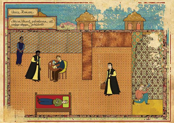 Турецкий художник изобразил кадры из известных фильмов в стиле миниатюр времен Османской империи. Изображение № 21.