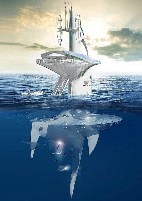 Французский исследователь собрал деньги на 60-метровую футуристичную плавучую платформу. Изображение № 1.