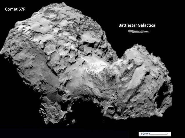 Физики сравнили размеры кометы 67P с космическими кораблями. Изображение № 4.