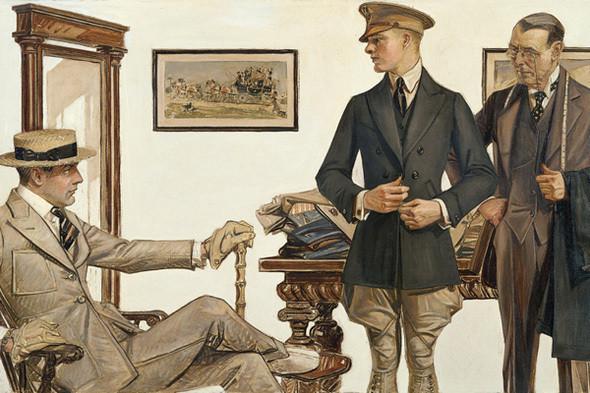 Запонки в качестве функционального дополнения к менее парадному костюму стали появляться только в XIX веке. Иллюстрация Джозефа Лейнденера. Изображение № 9.