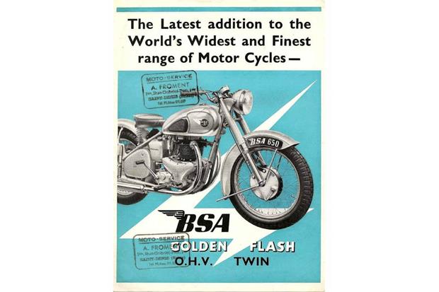 Реклама английских мотоциклов BSA и их последней новинки BSA Golden Flash, 1950 год. Изображение № 7.