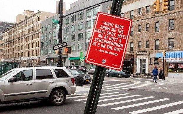 Нью-йоркский художник Джей Шеллс крепит к столбам таблички с рэп-цитатами. Изображение № 14.