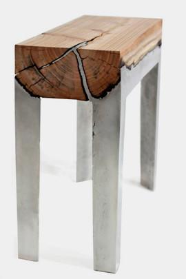 Дизайнер Хилла Шамиа сделала мебель из древесных стволов и расплавленного алюминия. Изображение № 5.