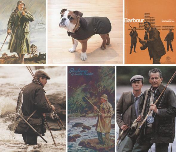 1. Иллюстрация из рекламного буклета Barbour, 1990-е. 2. Вощеная накидка Barbour для собаки. 3. Фрагмент из старой рекламной кампании Barbour. 4. Рыбаки до сих пор любят вощеные куртки, как и в начале прошлого века. 5. Реклама Barbour, 1956 год. 6. Реклама Barbour, 1990 год. Изображение № 1.